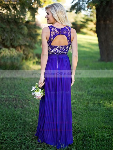 Lace Chiffon A-line Scoop Neck Floor-length Pleats Bridesmaid Dresses #DOB01013759