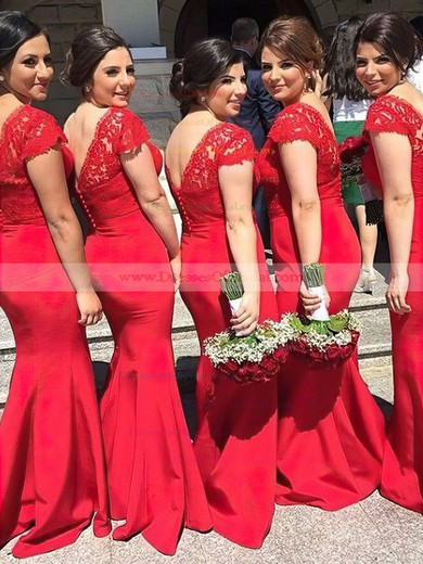 Lace Silk-like Satin Trumpet/Mermaid V-neck Sweep Train Sashes / Ribbons Bridesmaid Dresses #DOB01013737