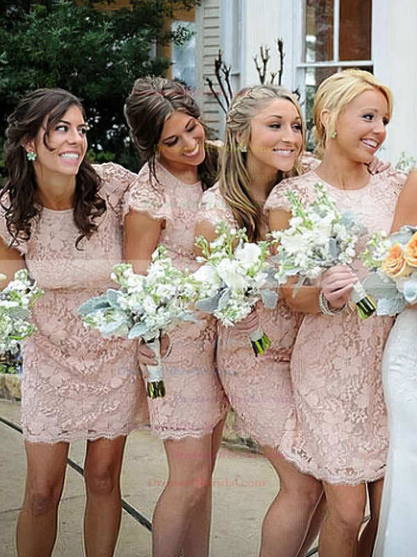 Lace Sheath/Column Scoop Neck Short/Mini Bridesmaid Dresses #DOB01013740