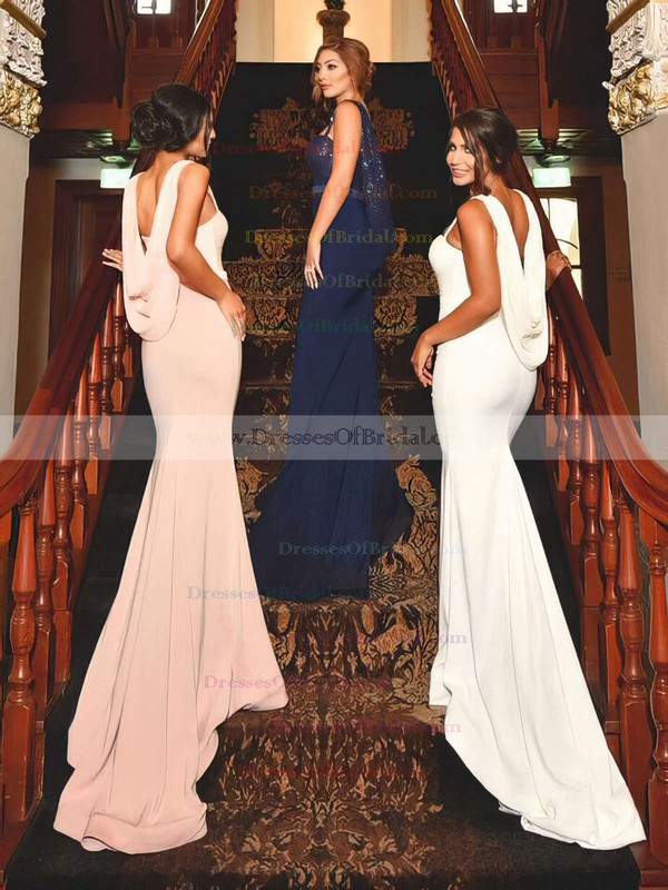 Jersey Sequined Trumpet/Mermaid Sweetheart Sweep Train Sashes / Ribbons Bridesmaid Dresses #DOB01013741
