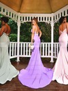 Jersey Trumpet/Mermaid Sweetheart Sweep Train Appliques Lace Bridesmaid Dresses #DOB01013742