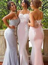 Silk-like Satin Trumpet/Mermaid Sweetheart Sweep Train Lace Bridesmaid Dresses #DOB01013744