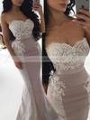 Silk-like Satin Trumpet/Mermaid Sweetheart Sweep Train Lace Bridesmaid Dresses #DOB01013744