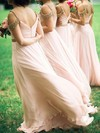 Chiffon A-line V-neck Floor-length Beading Bridesmaid Dresses #DOB01013746