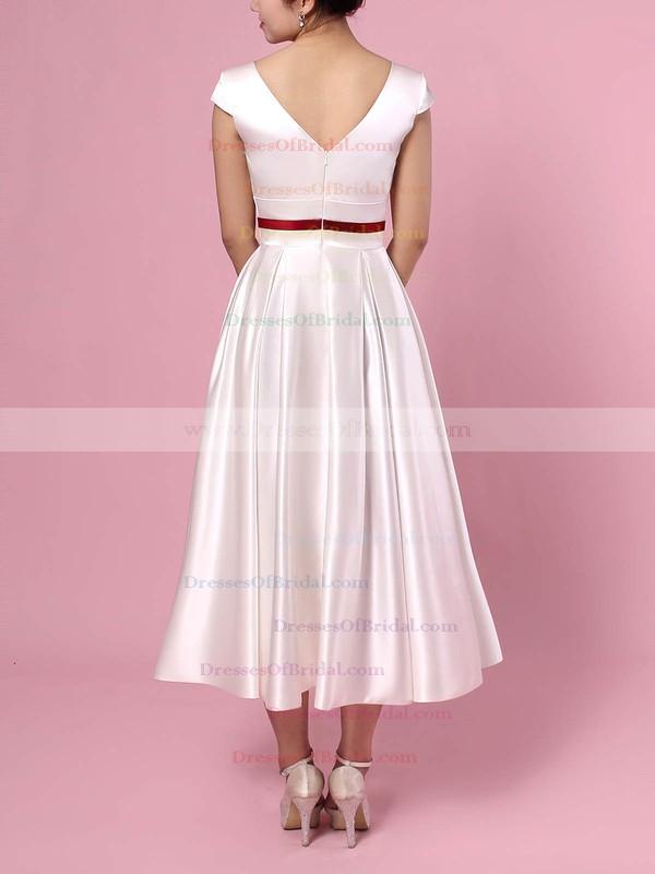 Satin Princess V-neck Tea-length Sashes / Ribbons Wedding Dresses #DOB00023271