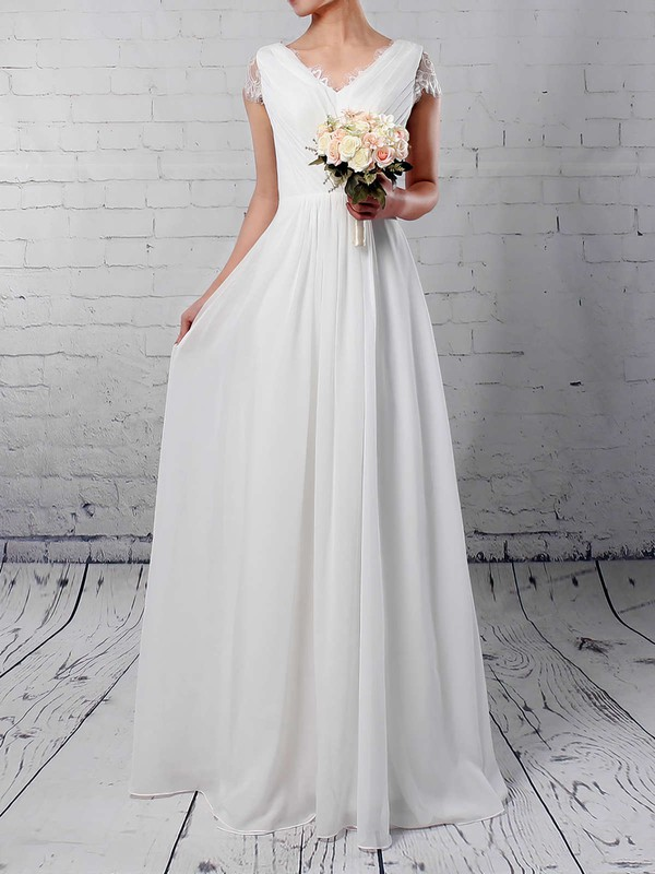 Lace Chiffon A-line V-neck Floor-length Ruffles Wedding Dresses #DOB00023283