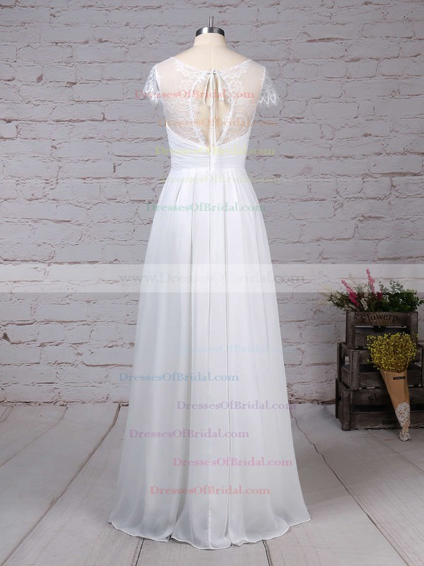 Lace Chiffon A-line V-neck Floor-length Ruffles Wedding Dresses #DOB00023283