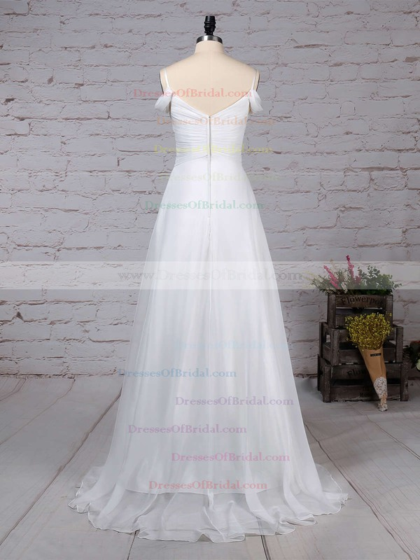 Chiffon Empire V-neck Sweep Train Ruched Wedding Dresses #DOB00023198