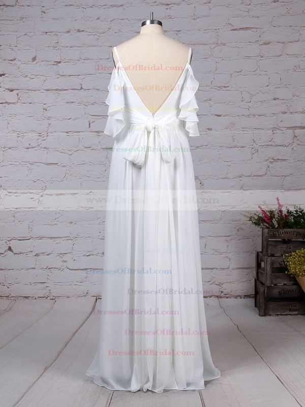 Chiffon A-line V-neck Sweep Train Sashes / Ribbons Wedding Dresses #DOB00023303