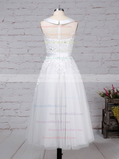 Tulle Ball Gown Scoop Neck Tea-length Beading Wedding Dresses #DOB00023272