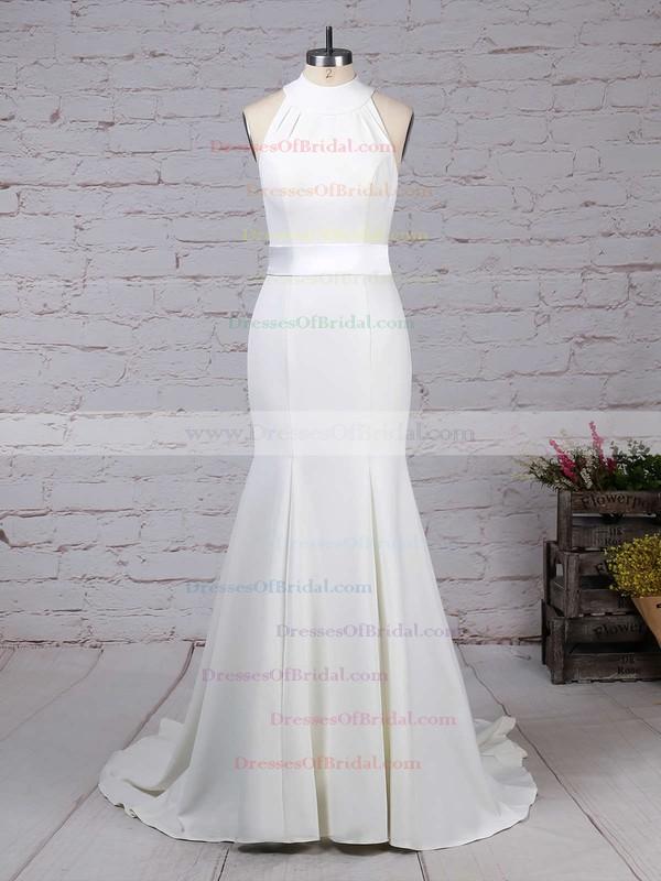 Satin Chiffon Trumpet/Mermaid High Neck Sweep Train Sashes / Ribbons Wedding Dresses #DOB00023275