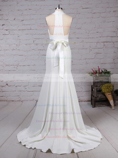 Satin Chiffon Trumpet/Mermaid High Neck Sweep Train Sashes / Ribbons Wedding Dresses #DOB00023275