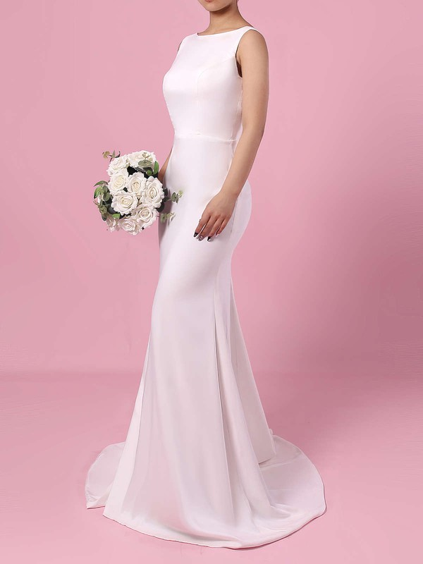 Satin Chiffon Sheath/Column Scoop Neck Sweep Train Wedding Dresses #DOB00023276