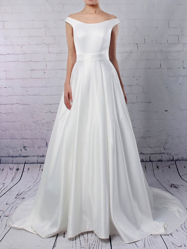 Satin Ball Gown Off-the-shoulder Sweep Train Sashes / Ribbons Wedding Dresses #DOB00023169