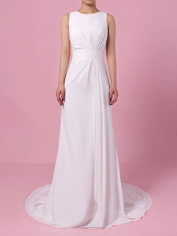 Lace Satin Chiffon Sheath/Column Scoop Neck Sweep Train Appliques Lace Wedding Dresses #DOB00023257