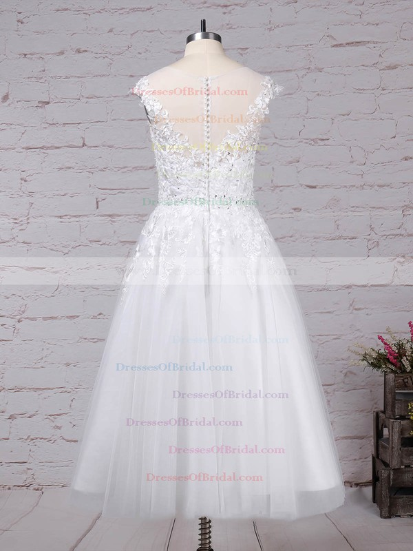 Tulle Ball Gown Scoop Neck Tea-length Beading Wedding Dresses #DOB00023268