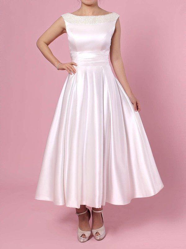 Satin Princess Scoop Neck Tea-length Bow Wedding Dresses #DOB00023269