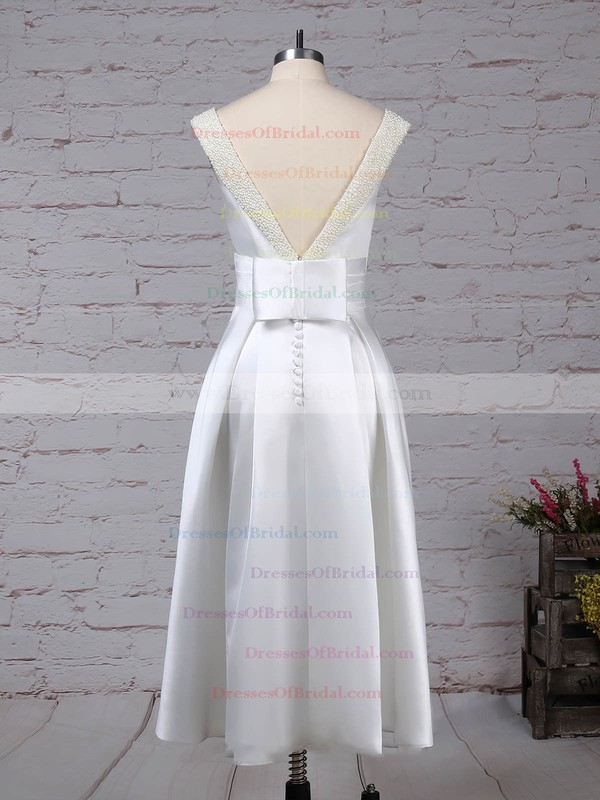 Satin Princess Scoop Neck Tea-length Bow Wedding Dresses #DOB00023269