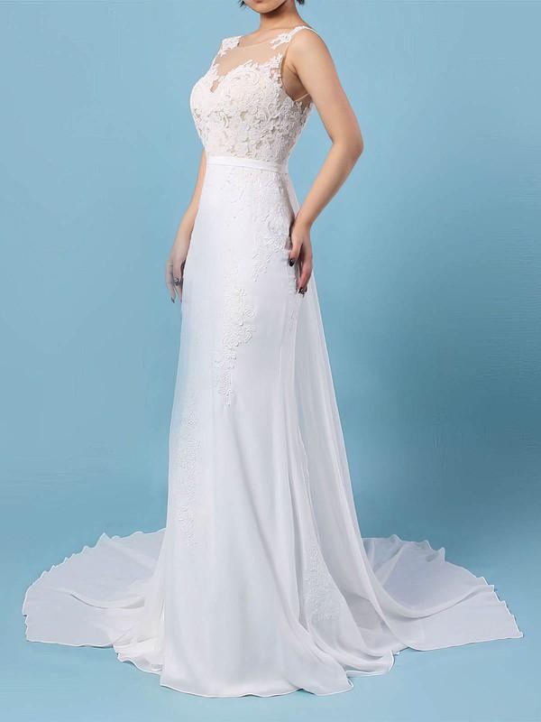 Chiffon Trumpet/Mermaid Scoop Neck Watteau Train Appliques Lace Wedding Dresses #DOB00023156