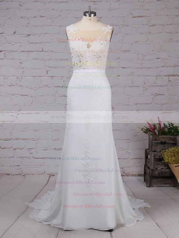 Chiffon Trumpet/Mermaid Scoop Neck Watteau Train Appliques Lace Wedding Dresses #DOB00023156