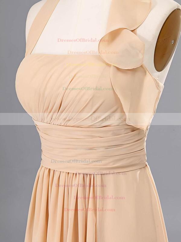 Vintage Chiffon Ruffles A-line H Champagne Bridesmaid Dresses #DOB02020059