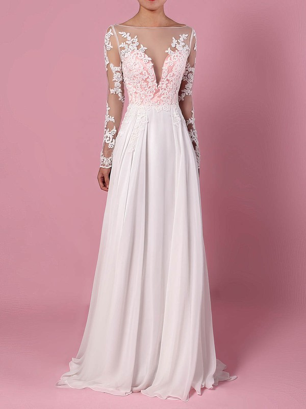 ac3bcbd5450 Chiffon Tulle A-line Scoop Neck Sweep Train Appliques Lace Wedding Dresses   DOB00023209