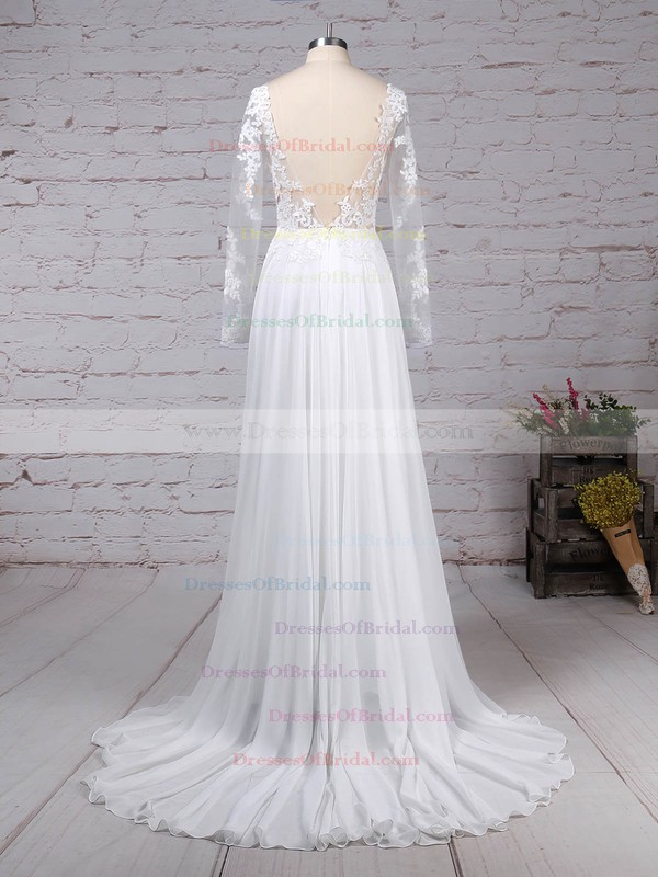 Chiffon Tulle A-line Scoop Neck Sweep Train Appliques Lace Wedding Dresses #DOB00023209