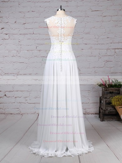 Chiffon Tulle A-line Scoop Neck Floor-length Appliques Lace Wedding Dresses #DOB00023305