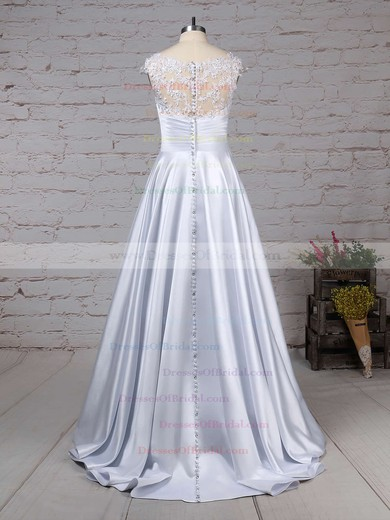 Satin Tulle Ball Gown Scoop Neck Floor-length Appliques Lace Wedding Dresses #DOB00023313