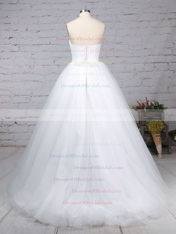 Tulle Ball Gown Sweetheart Sweep Train Sashes / Ribbons Wedding Dresses #DOB00023153