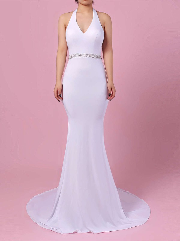 Satin Chiffon Trumpet/Mermaid Halter Sweep Train Sashes / Ribbons Wedding Dresses #DOB00023155