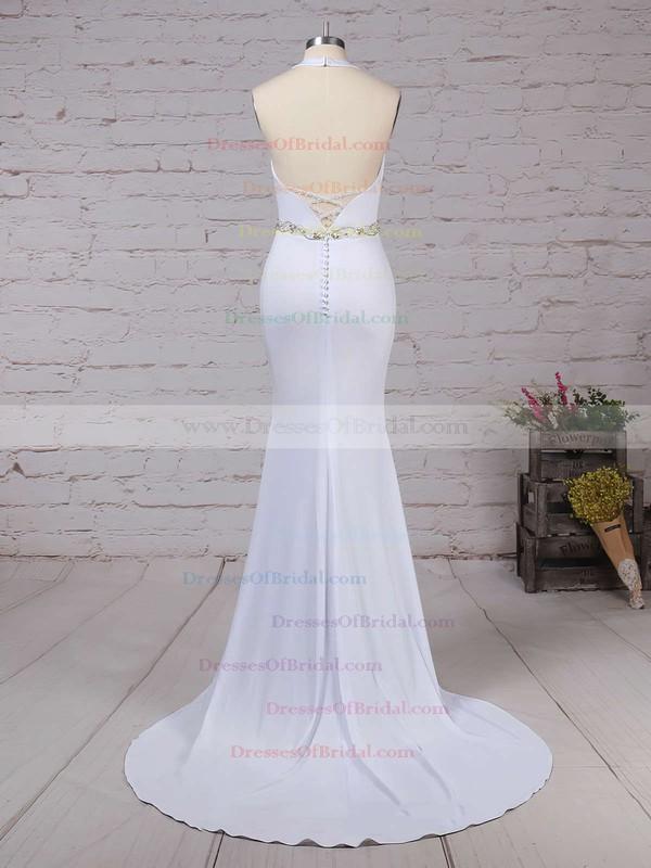 Satin Chiffon Trumpet/Mermaid Halter Sweep Train Sashes / Ribbons Wedding Dresses #DOB00023155