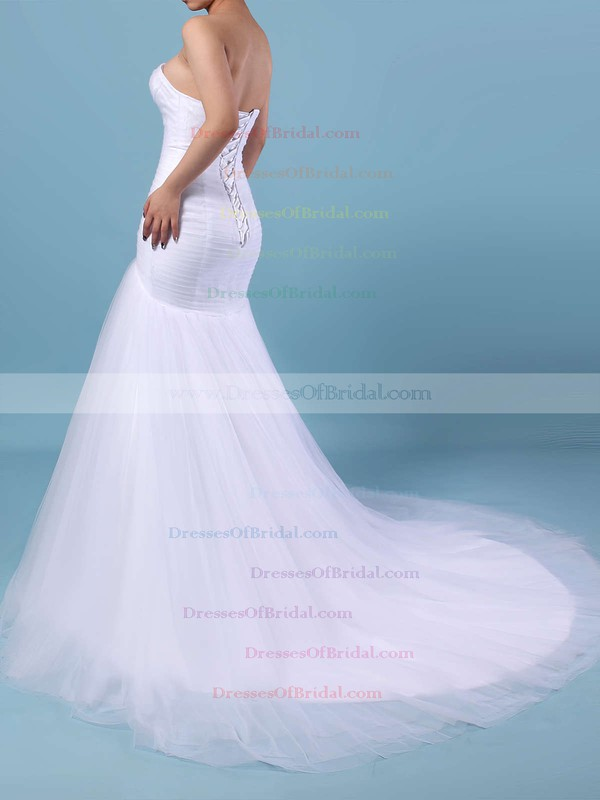 Tulle Trumpet/Mermaid Sweetheart Sweep Train Ruched Wedding Dresses #DOB00023219