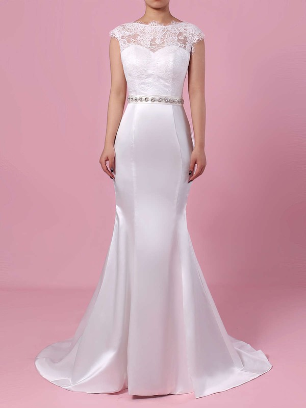 Lace Satin Trumpet/Mermaid Scoop Neck Sweep Train Beading Wedding Dresses #DOB00023227