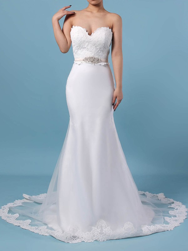 Lace Organza Trumpet/Mermaid V-neck Sweep Train Appliques Lace Wedding Dresses #DOB00023228