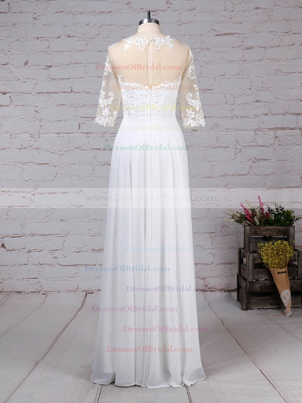 Chiffon Tulle A-line Scoop Neck Floor-length Appliques Lace Wedding Dresses #DOB00023279