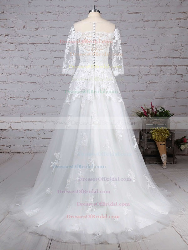 Tulle Princess Scoop Neck Sweep Train Appliques Lace Wedding Dresses #DOB00023162