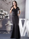 V-neck Trumpet/Mermaid Floor-length Satin Appliques Mother of the Bride Dresses #DOB02012943