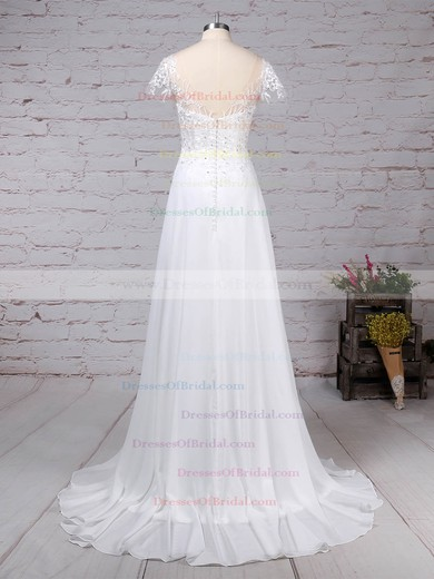 Chiffon Tulle A-line Scoop Neck Sweep Train Beading Wedding Dresses #DOB00023165