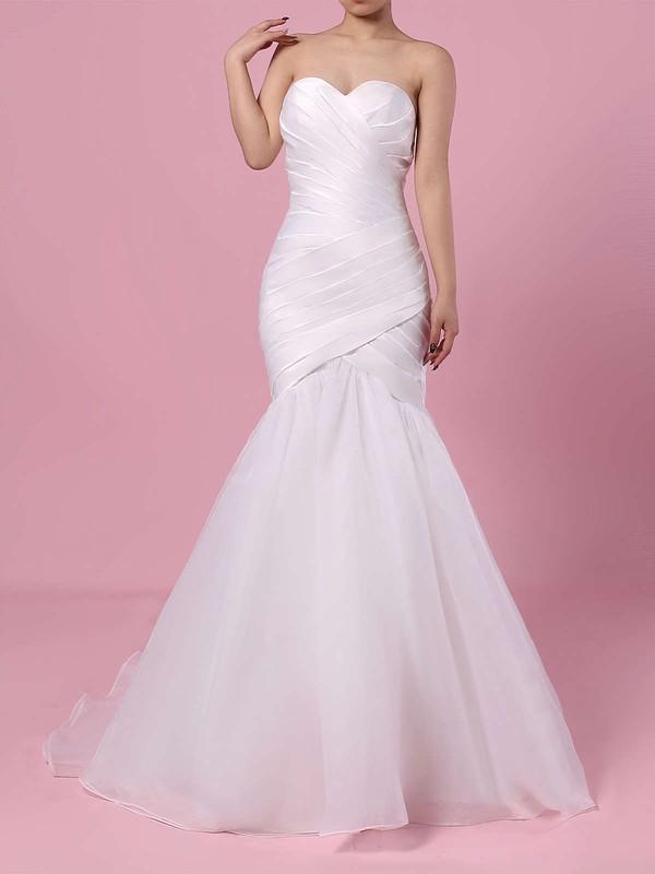 Tulle Trumpet/Mermaid Sweetheart Sweep Train Ruffles Wedding Dresses #DOB00023218