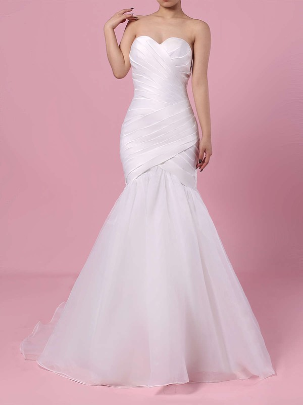 Tulle Trumpet/Mermaid Sweetheart Sweep Train Ruffles Wedding Dresses #DOB00023218