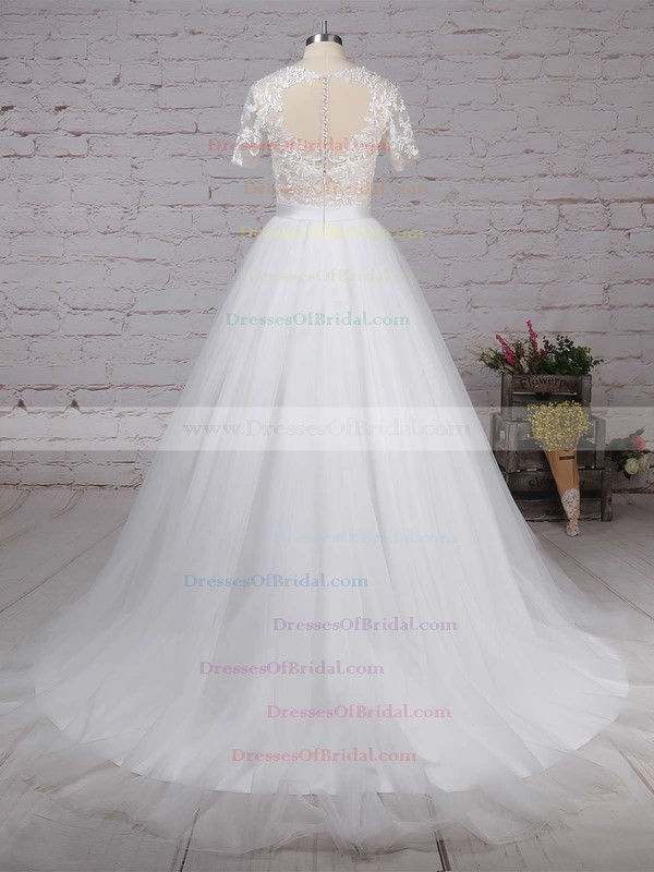 Tulle Ball Gown Scoop Neck Sweep Train Appliques Lace Wedding Dresses #DOB00023225