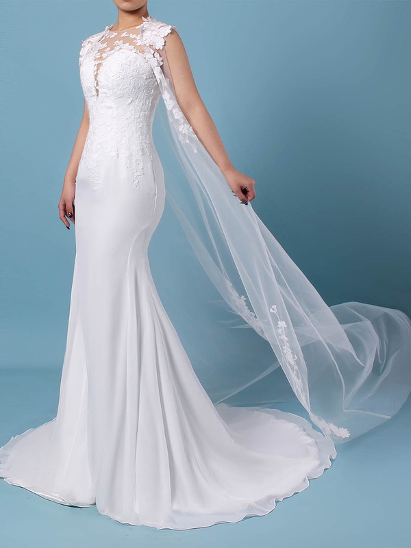 Tulle Chiffon Trumpet/Mermaid Scoop Neck Sweep Train Appliques Lace Wedding Dresses #DOB00023231