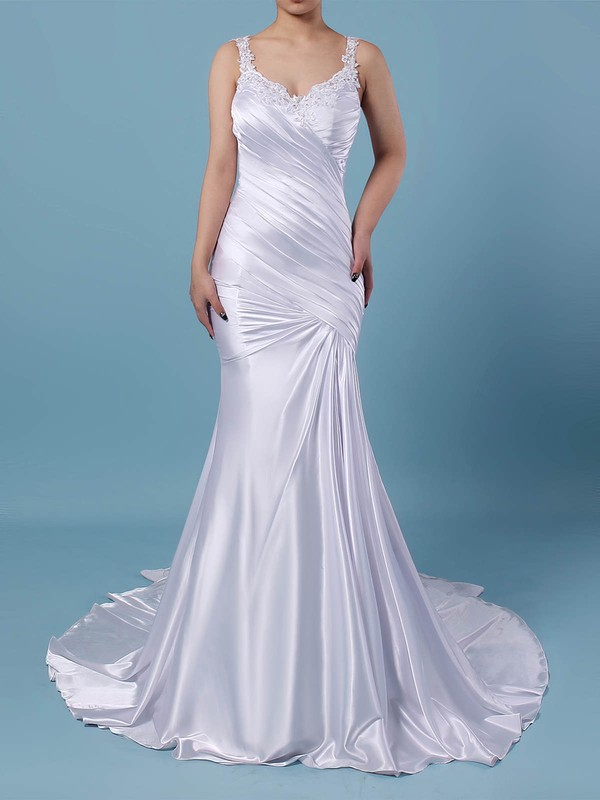 Tulle Silk-like Satin Trumpet/Mermaid V-neck Sweep Train Beading Wedding Dresses #DOB00023242