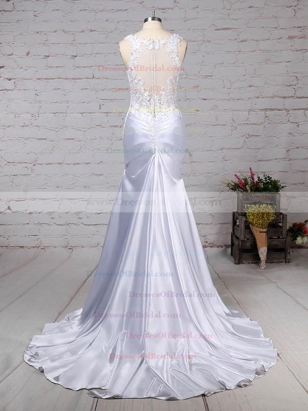 Tulle Silk-like Satin Trumpet/Mermaid V-neck Sweep Train Beading Wedding Dresses #DOB00023242