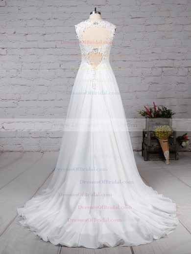 Chiffon Tulle Princess V-neck Court Train Beading Wedding Dresses #DOB00023244