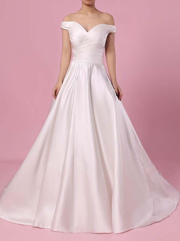 Satin Ball Gown Off-the-shoulder Sweep Train Ruffles Wedding Dresses #DOB00023252