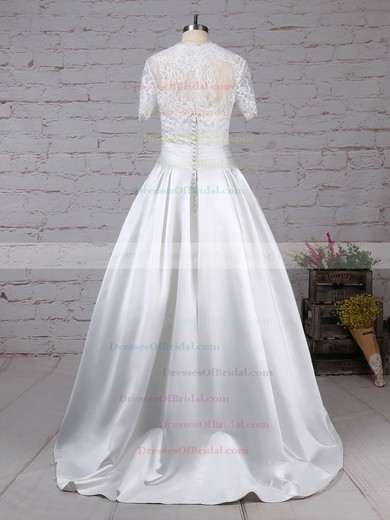 Lace Satin Ball Gown Sweetheart Floor-length Bow Wedding Dresses #DOB00023256