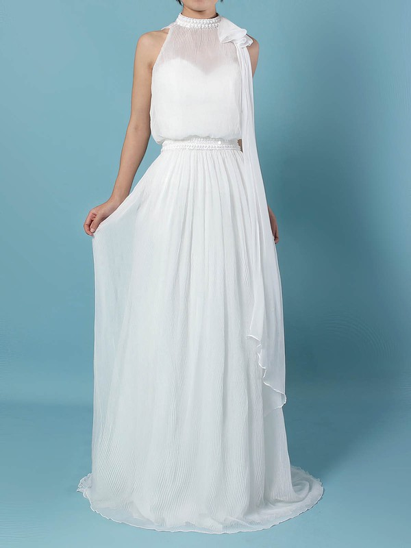 Chiffon A-line Sweetheart Sweep Train Beading Wedding Dresses #DOB00023260