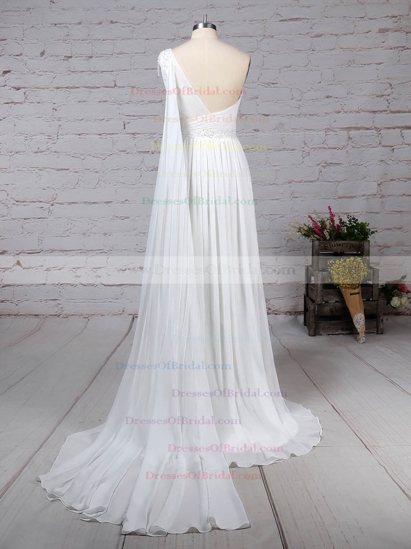 Chiffon Empire One Shoulder Sweep Train Beading Wedding Dresses #DOB00023261